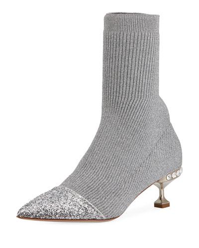 Knit Glitter Cap-Toe Bootie