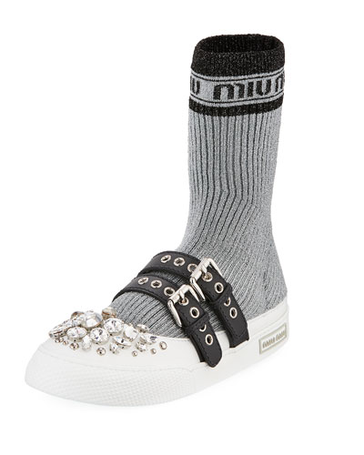 Jeweled Flat Sock Sneaker Boot