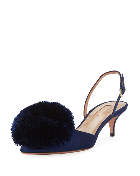 Powder Puff Suede Pompom Pump