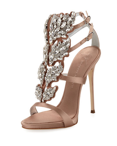 Satin Wing Jeweled Sandal