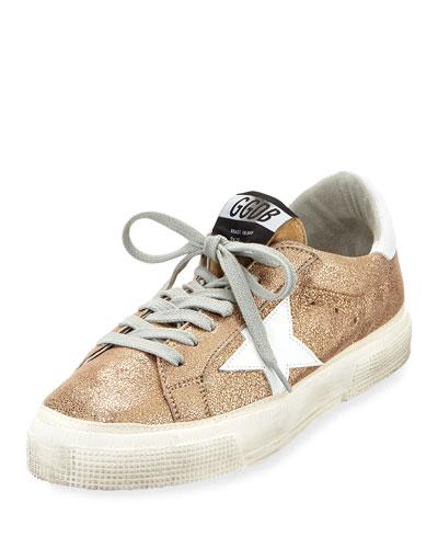 May Metallic Leather Low-Top Sneaker