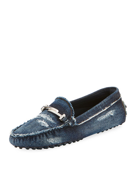 Gommini Distressed Denim Driver in Blue from TOD'S