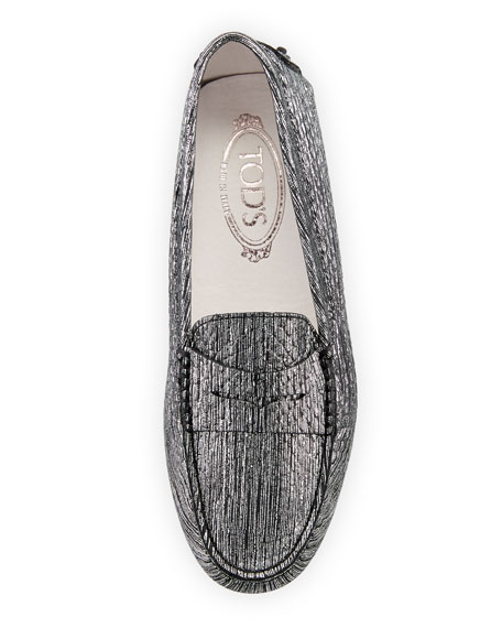 Gommini Metallic Scratch Leather Penny Loafer