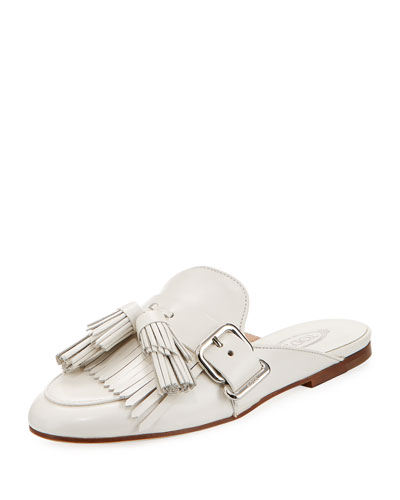 Tassel Fringe Leather Mule Slide