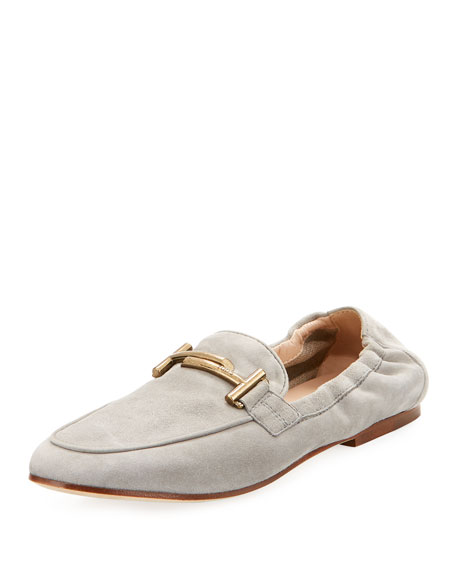 Double-T Scrunched Suede Loafer