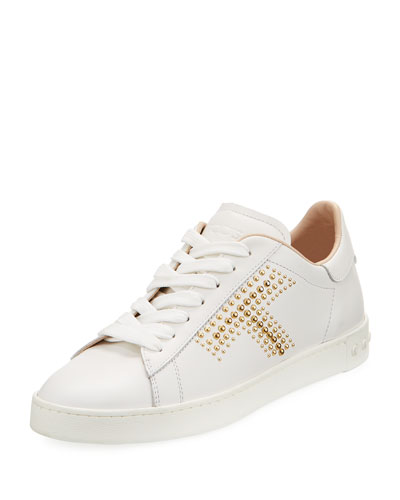 Studded T Leather Sneaker, White