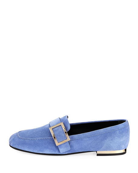 Suede Buckle-Strap Loafer