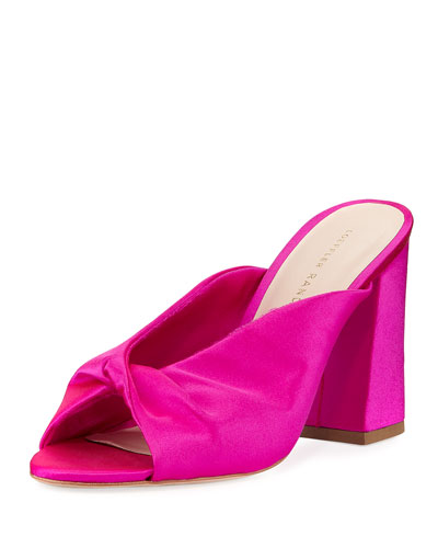 Laurel Satin Block-Heel Slide Sandal