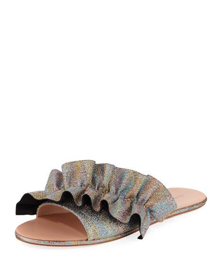 Rey Ruffled Flat Slide Sandals, Rainbow