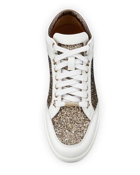 Miami Low-Top Glitter/Leather Sneaker