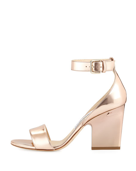 e061695257c9 Jimmy Choo Edina Metallic Block-Heel Sandal