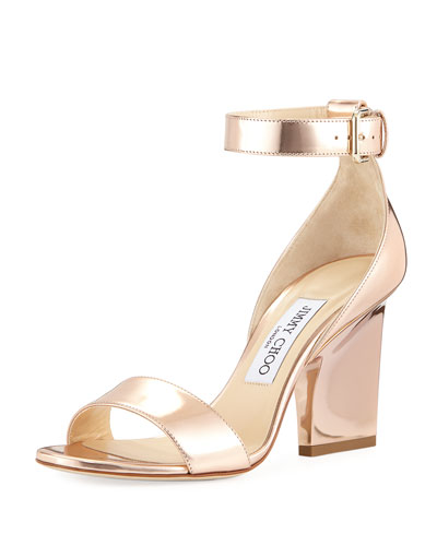 Edina Metallic Block-Heel Sandal