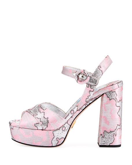 Brocade Platform Block-Heel Sandal