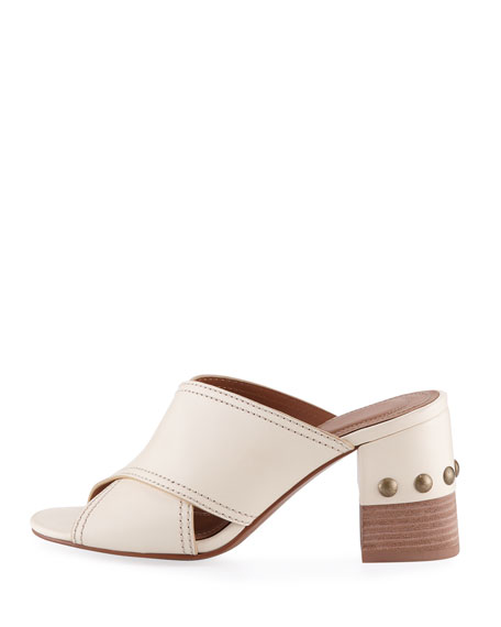 Leather Crisscross Block-Heel Slide Sandal