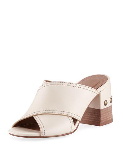 Leather Crisscross Block-Heel Slide Sandal