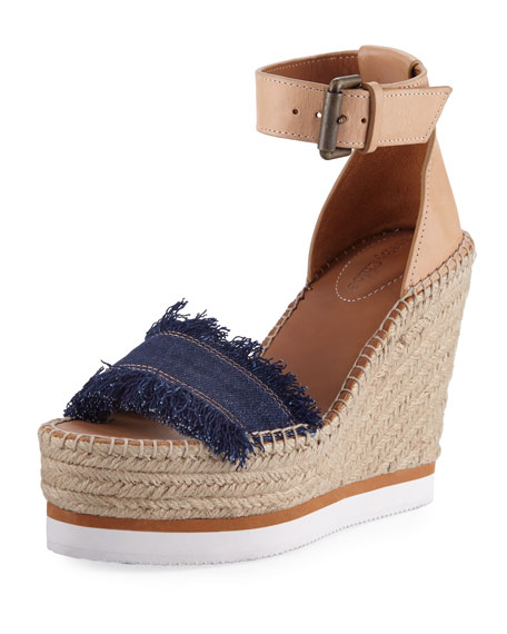 Glyn 70mm Canvas & Leather Espadrille Sandal