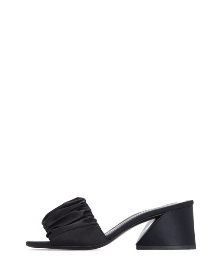 Eleta Pleated Satin Mule Sandal