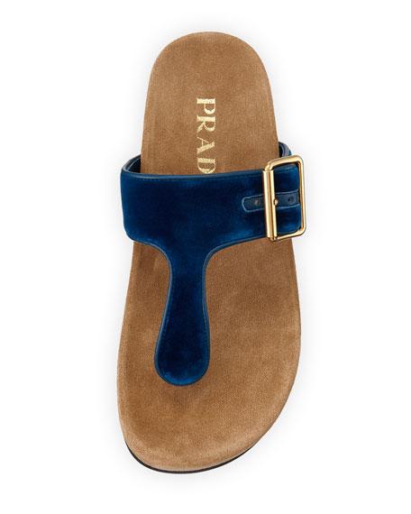 Velvet Thong Slide Sandal