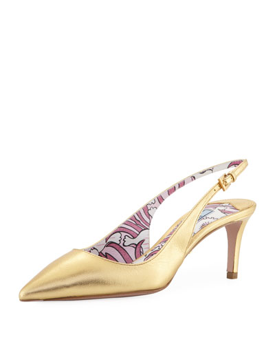 Metallic Leather 65mm Slingback Pump