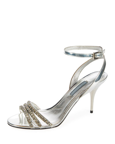 Jeweled Metallic Leather Ankle-Wrap Sandal