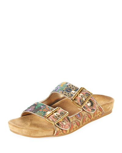 Jacquard Two-Strap Slide Sandal