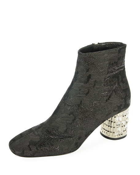 Metallic Jacquard Ankle Boot with Jeweled Heel