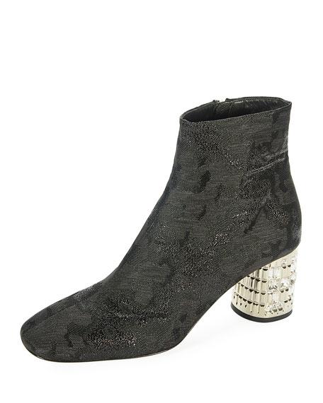 Metallic Jacquard Ankle Boot with Jeweled Heel