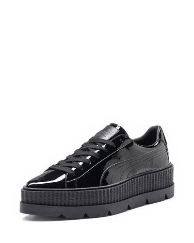 Patent Platform Creeper Sneaker, Black