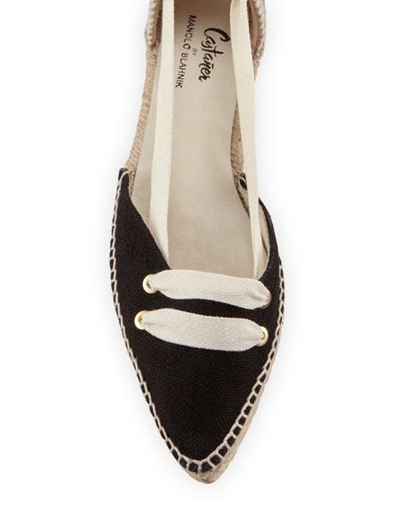 Colorblock Ankle-Wrap d'Orsay Espadrille, White/Black