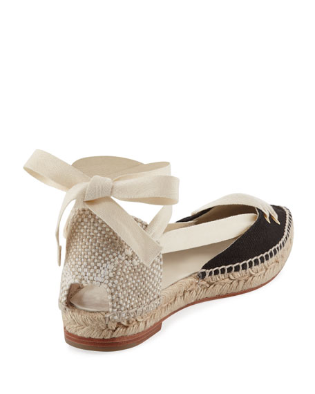 Colorblock Ankle-Wrap d'Orsay Espadrille, White/Black