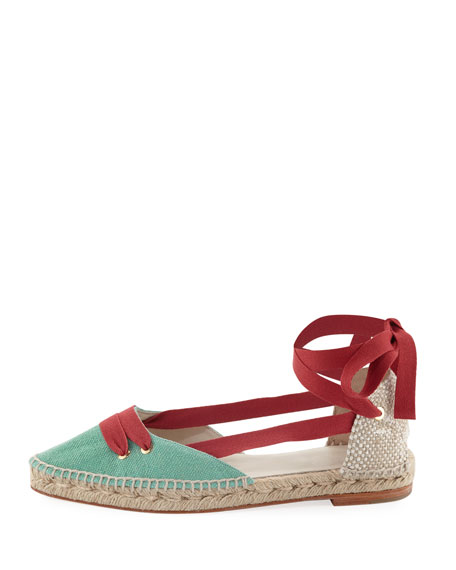 Colorblock Ankle-Wrap d'Orsay Espadrille, Red/Green