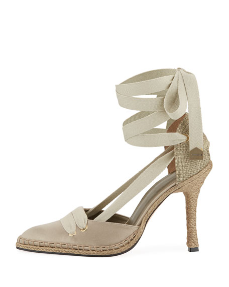 Satin Ankle-Wrap Espadrille Pump