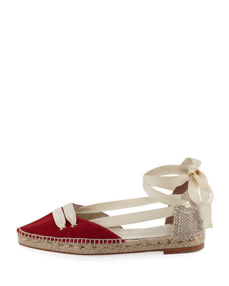 Colorblock Ankle-Wrap d'Orsay Espadrille, Red/White
