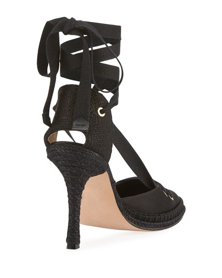 Satin Ankle-Wrap Espadrille Pump, Black