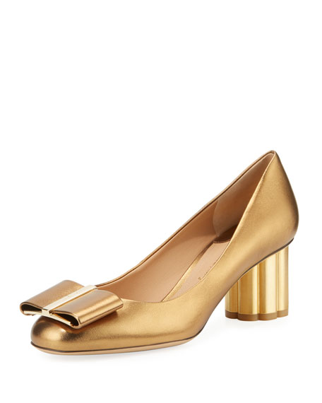 Metallic Leather Bow Pump