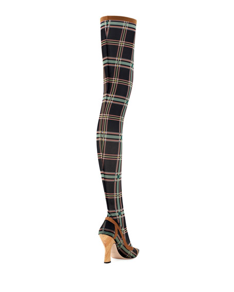 Runway Over-The-Knee Plaid Mesh Boot