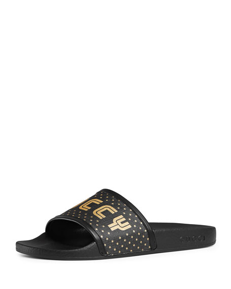 Pursuit Leather-Trimmed  Logo-Print Canvas Slides, Black