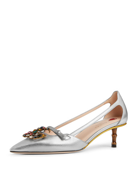 Metallic Leather Pump With Crystal Double G