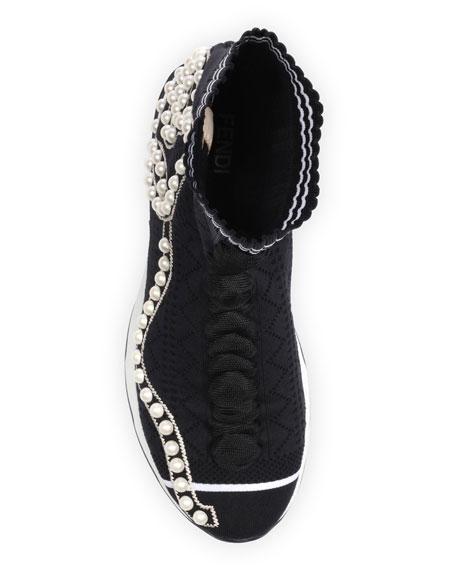 Rockoko Pearly Beaded Knit Sock Sneaker