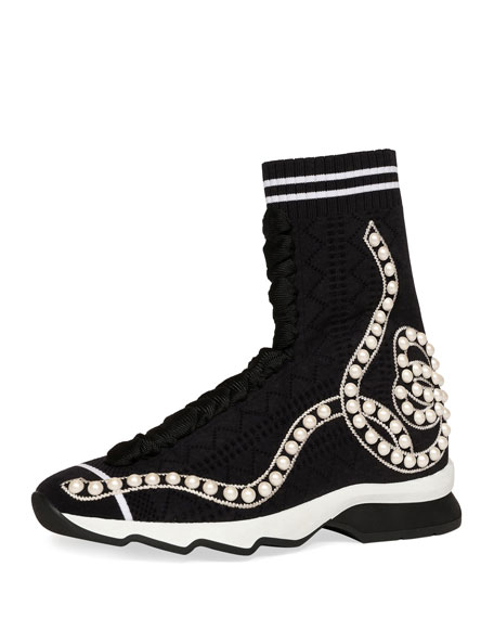 3d0228ad00ee Fendi Rockoko Pearly Beaded Knit Sock Sneaker