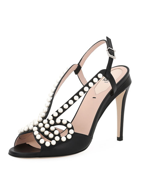 03f1e9d13b8 Fendi Pearly Beaded Leather Sandal