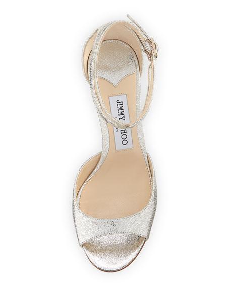 Lane Metallic Leather Ankle-Wrap Sandal