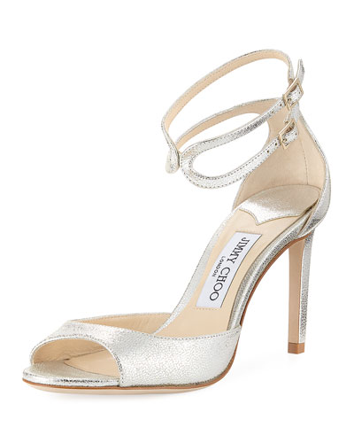 Lane Metallic Leather Ankle-Wrap Sandal