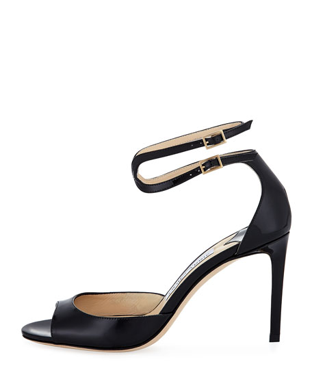Lane Patent Leather Ankle-Wrap Sandal