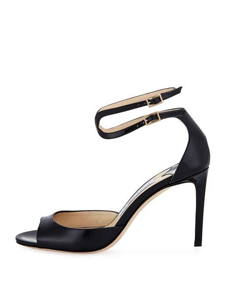 Lane Patent Leather Ankle-Wrap Sandal