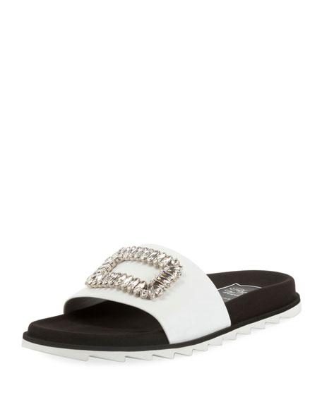 Slidy Viv Strass Buckle Flat Sandals, White