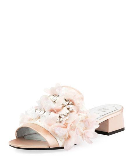 Petals Strass Slide Sandal, Champagne