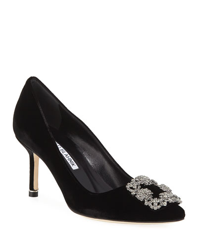 91006ac9b1d5 Hangisi Crystal-Buckle Velvet 70mm Pump