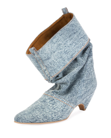 Runway Denim Scrunched Boot, Blue
