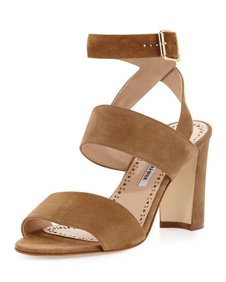 Khanstrap Suede Chunky-Heel Sandal